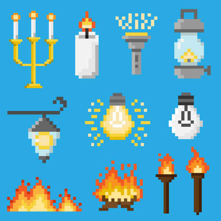 A set of pixel objects associated with light and lighting