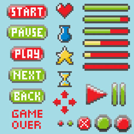 Set of pixel elements Illustration