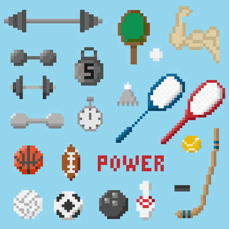 A set of pixel objects associated with the sport Illustration