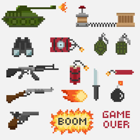 mercenary: A set of pixel weapons for games and mobile applications Stock Photo