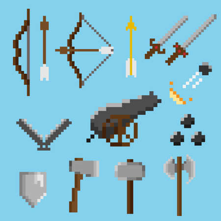 Set of old pixel weapons Illustration