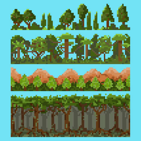 Set of pixel landscape elements with forest, trees and hills.