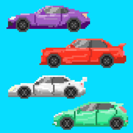 Pixel multicolored cars.