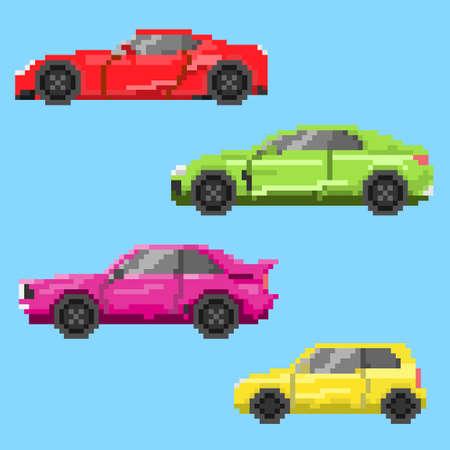 Pixel multicolored cars.