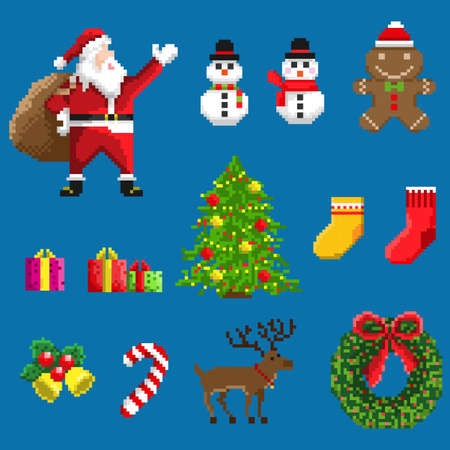 Pixel Art Set Of Icons With Santa Deers Snowman Christmas