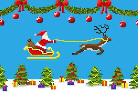 Pixilate クリスマス テーマにしたカード。  イラスト・ベクター素材
