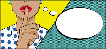 Vector background in style of pop art.Lady shooshing sign Illustration