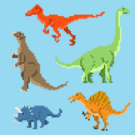 Set of pixel dinosaurs.