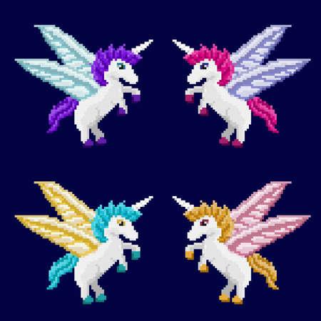 Web pixelated winged unicorns