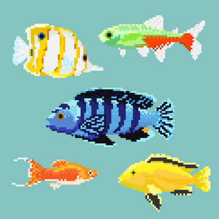 Set of pixel exotic fish Vector illustration. Illustration