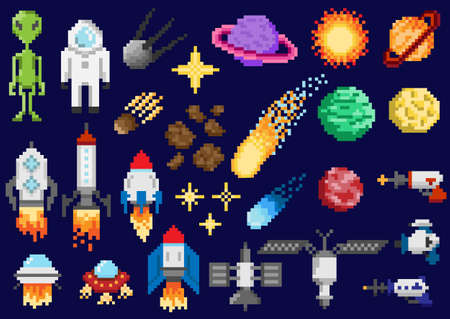 Space ships, planets, satellites Vector illustration. Illustration
