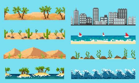 A set of pixel seamless element landscape Illustration