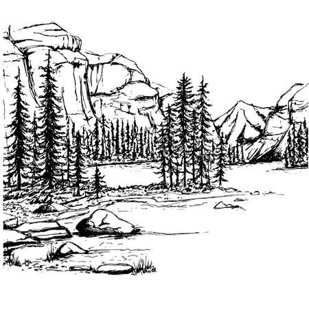 A sketch of a lake and a forest Vector illustration. Ilustração
