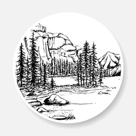 Black and white landscape in the form of a sketch on the sticker.