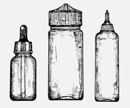 A sketch of different bottles for different liquids.