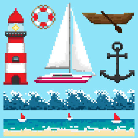 A set of pixel objects and seamless elements associated with marine themes.