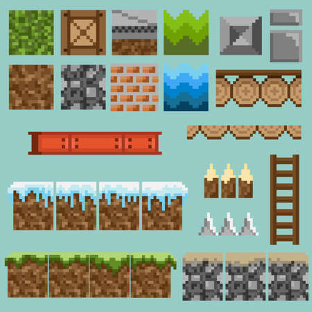 A set of pixel seamless elements for creating a landscape