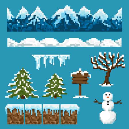 A set of pixel elements for creating a winter landscape Illustration