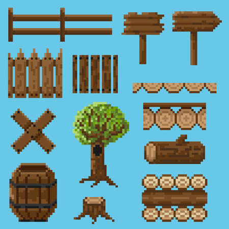 A set of pixel objects made of wood to form a landscape