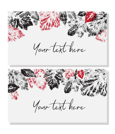 Templates for business cards, greeting cards, name cards and invitations, with red and black silhouettes of leaves located at the top edge.
