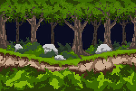 Pixel background with a dark forest, a path along the ravine and thickets of bushes with stones. For games and mobile applications. Seamless when docking horizontally. Illustration