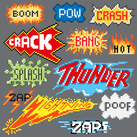 Big set of pixel inscriptions. For games and mobile applications.