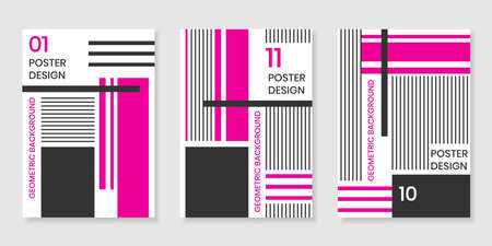 Covers templates set with trendy geometric patterns, magenta,black,white colors and different elements. Modern design for placards, posters, presentations and banners.