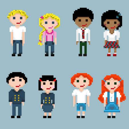 Pixel hombres, mujeres, niñas y niños de diferentes nacionalidades y con diferente color de cabello. Un conjunto de personas de píxeles en parejas. Ilustración de vector