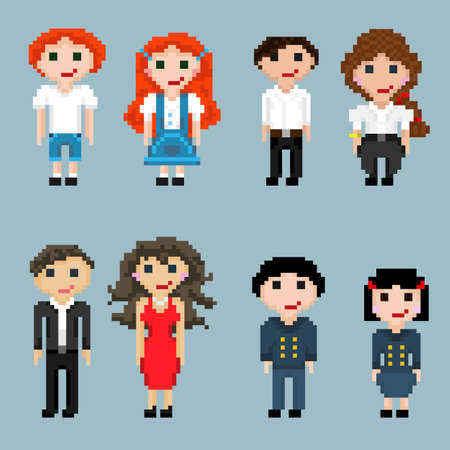 Pixel men, women, girls and boys of different nationalities and with different hair color. A set of pixel people in pairs.