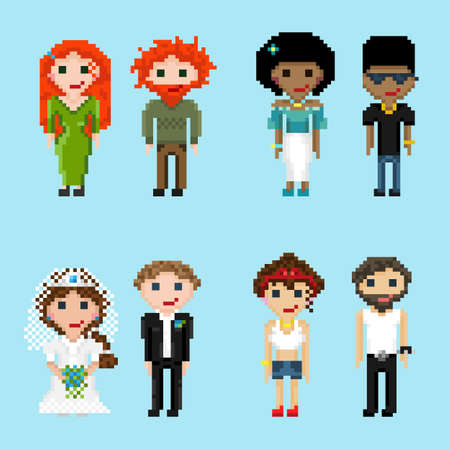 Pixel men, women, girls and boys of different nationalities, with different hair color and image. A set of pixel people in pairs.