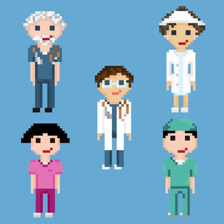 Personnages de pixel art de médecins et d'infirmières. Un ensemble de cinq pixels isolés sur fond bleu. Vecteurs