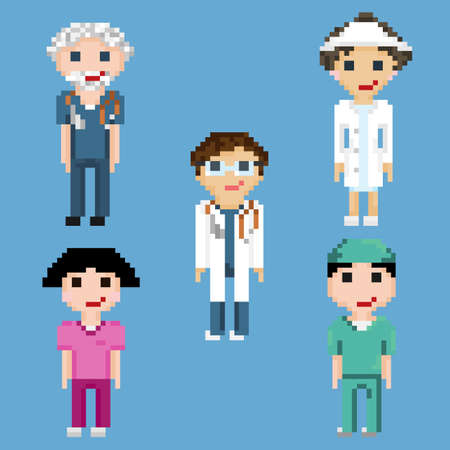 Pixel art characters of doctors and nurses. A set of five pixel people isolated on a blue background.