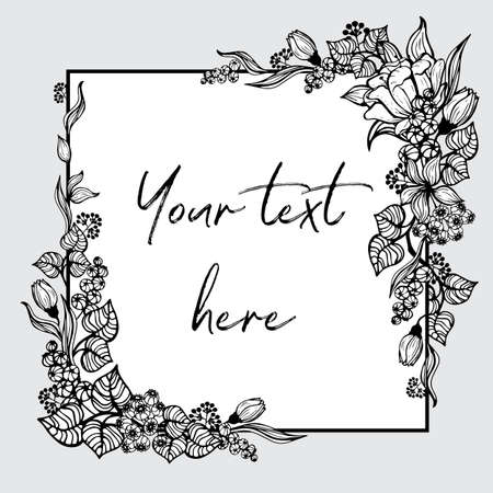 A square frame with painted flowers. Black and white graphic flowers, leaves and berries are located in the corners of the field for the inscription.