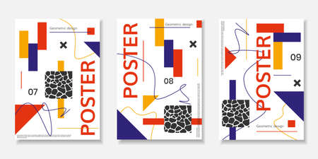 Covers templates set with abstract shapes, bauhaus, memphis and other graphic geometric elements. Stock Photo
