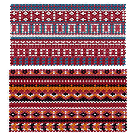 Seamless ethnic patterns on the knitted fabric. Vector stylization under the oriental carpet.