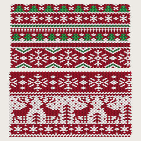 Seamless vector Christmas and New Year ornaments on knitted fabric.