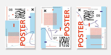 Covers templates set with abstract shapes, bauhaus, memphis and other graphic geometric elements. Illustration