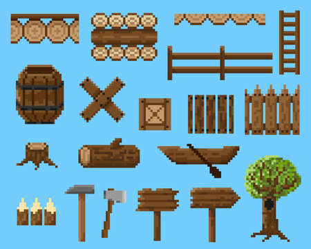 A set of pixel objects and seamless elements made of wood. For creating a landscape in games and mobile applications. Illustration