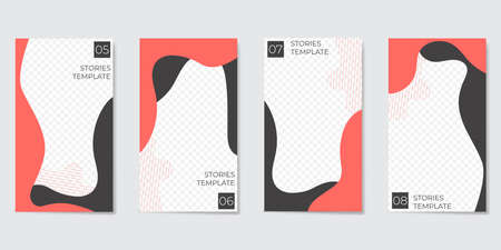 Editable template for Stories and Streaming. With trendy geometric shapes in black and coral color. Vector illustration Illustration