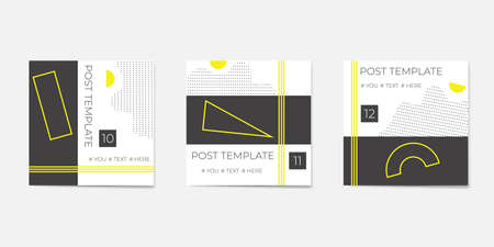 Set for social media post templates. For personal and business accounts. White background with geometric elements in black and yellow colors.
