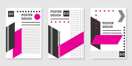 Covers templates set with trendy geometric patterns, magenta,black,white colors and memphis elements. Modern design for placards, posters, presentations and banners.