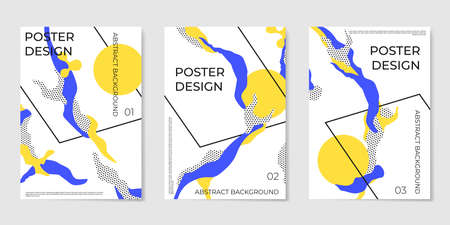Covers templates set with trendy elements and geometric objects. Modern design for placards, posters, presentations and banners.