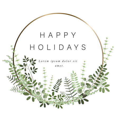 Gold round template for your text, decoration of leaves, branches, grasses and other plants. Bright frame for gift card and other greeting on holidays. Isolated on a white background. Illustration