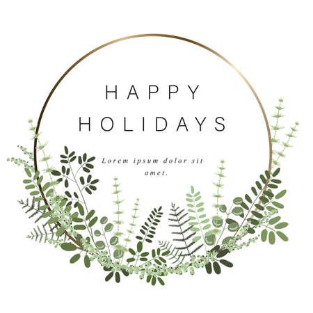 Plantilla redonda de oro para su texto, decoración de hojas, ramas, pastos y otras plantas. Marco brillante para tarjeta de regalo y otro saludo en días festivos. Aislado en un fondo blanco. Ilustración de vector