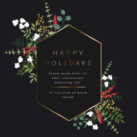 Sechseckige Goldvorlage für Ihren Text, Dekoration von Blumen, Beeren, Blättern und anderen Pflanzen.