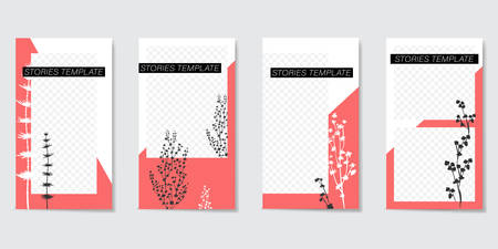 Minimalist editable template for Stories and Streaming. With trendy geometric shapes in coral black and white color and silhouettes of plants. Vector illustration
