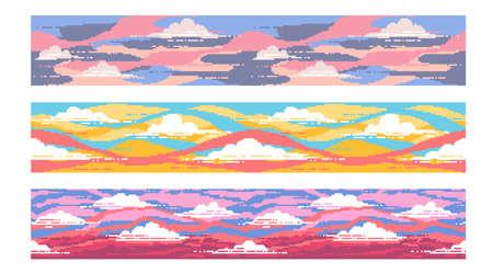Un conjunto de fondos de tres píxeles. Cielo brillante al atardecer con nubes. Montado horizontalmente. Ilustración de vector