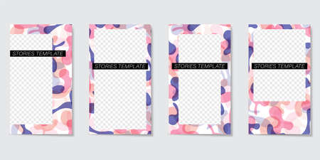 Bright editable template for Stories and Streams. Abstract elements in the form of colorful color spots. Vector illustration