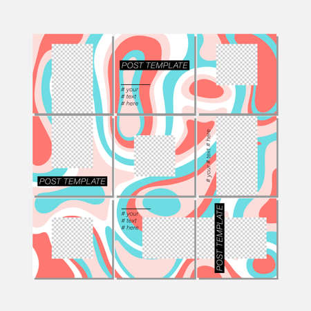 Big trendy editable puzzle template for social media post templates. For personal and business accounts. White background with abstract elements and colorful color spots. Vector illustration Illustration