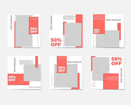 A large set for social media post templates. For personal and business accounts. White background with geometric elements in trendy coral colors. Promotion Brand Fashion. Stories. Streaming. Illustration